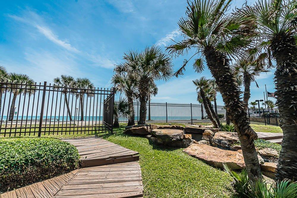 Tropical grounds landscaping at vacation rental condo on Galveston Island in Galveston Texas